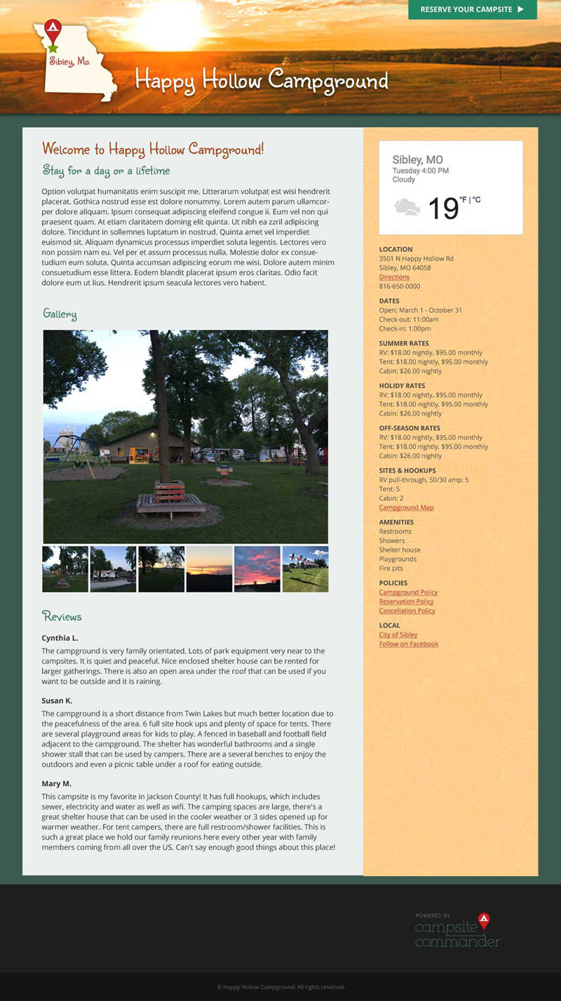 Custom Campground Website